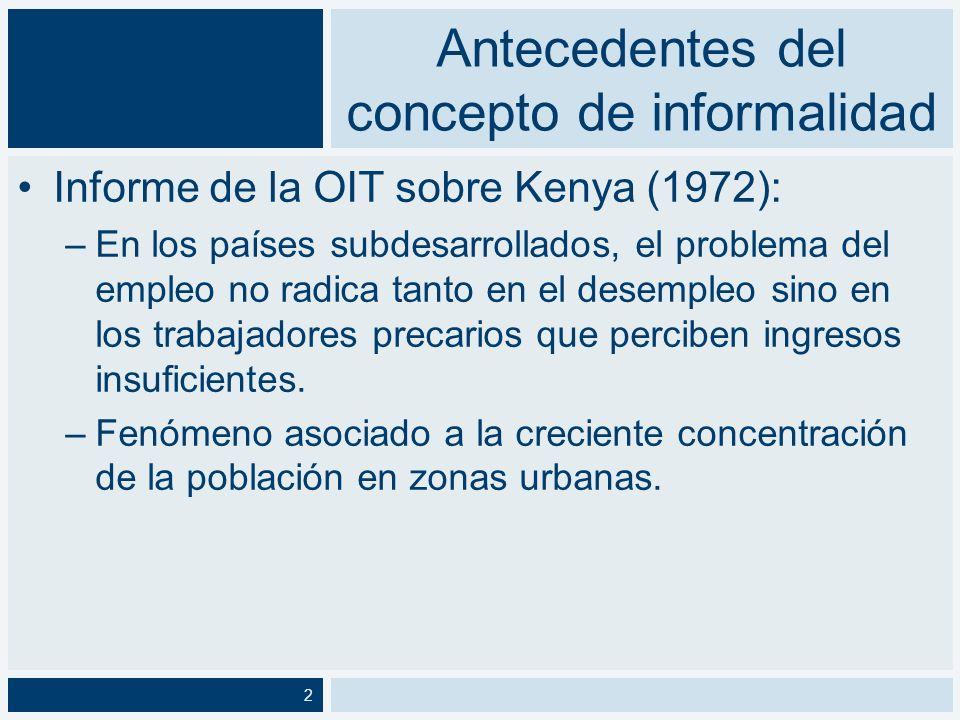 Antecedentes del concepto de informalidad PREALC –Conceptualiza a la informalidad a partir de la unidad de producción.