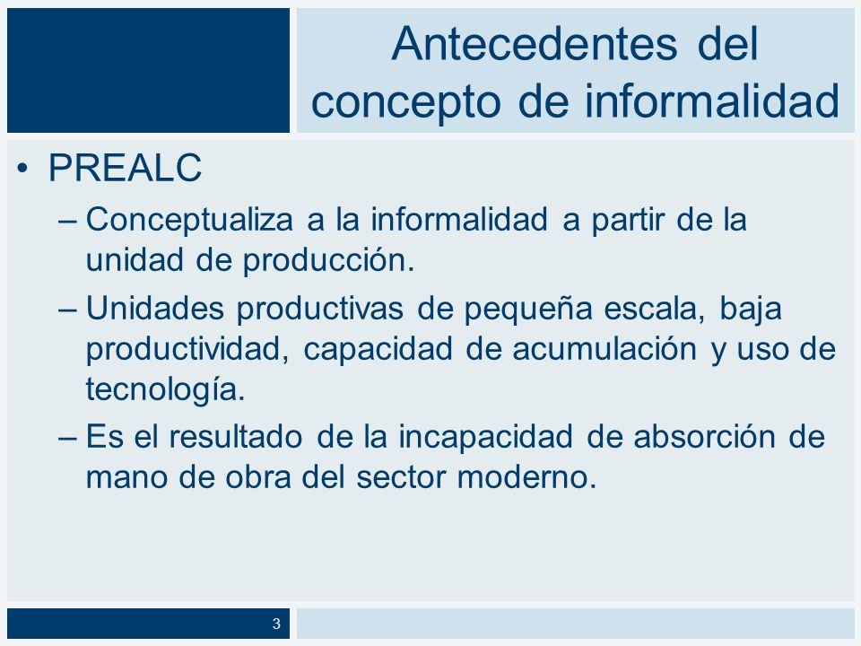 Antecedentes del concepto de informalidad Portes, Castells y Benton (1989): –La informalidad se asocia a la globalización y a los cambios en la división internacional del trabajo.