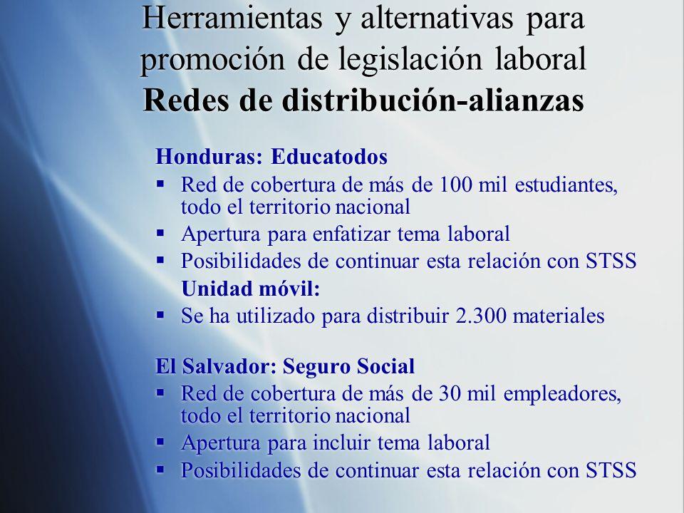 Herramientas y alternativas para promoción de legislación laboral Redes de distribución-alianzas Honduras: Educatodos Red de cobertura de más de 100 m