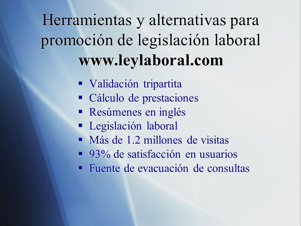 Herramientas y alternativas para promoción de legislación laboral www.leylaboral.com Validación tripartita Cálculo de prestaciones Resúmenes en inglés