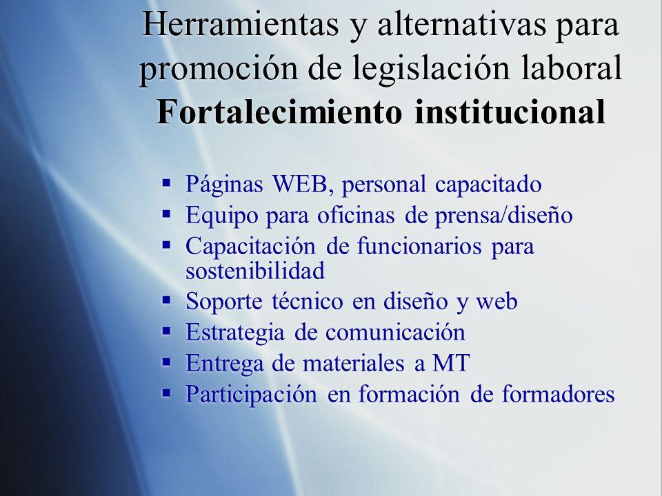 Herramientas y alternativas para promoción de legislación laboral Fortalecimiento institucional Páginas WEB, personal capacitado Equipo para oficinas