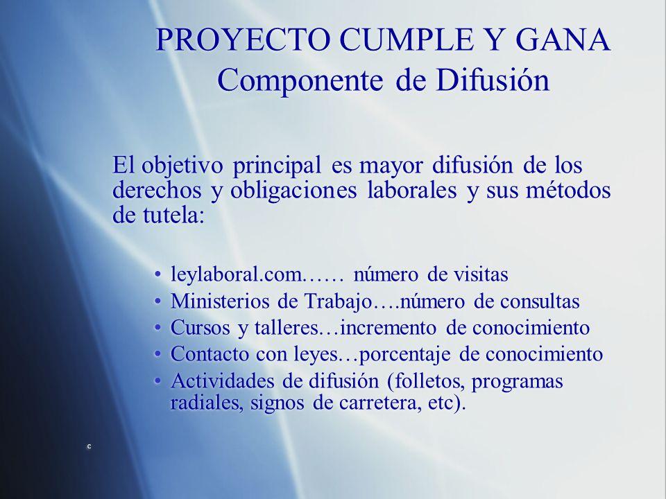 PROYECTO CUMPLE Y GANA Componente de Difusión El objetivo principal es mayor difusión de los derechos y obligaciones laborales y sus métodos de tutela