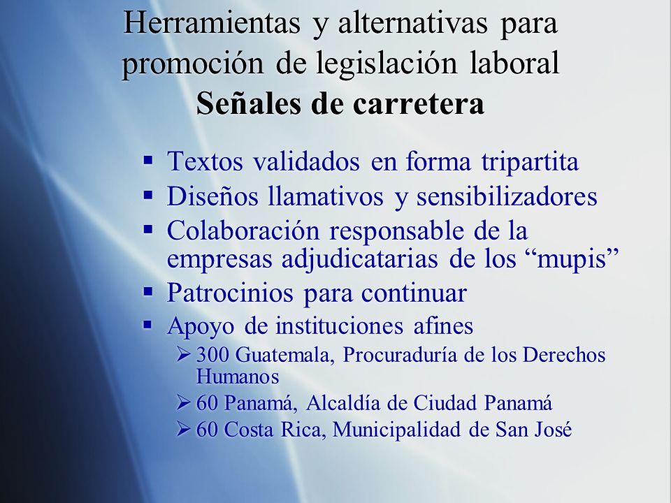 Herramientas y alternativas para promoción de legislación laboral Señales de carretera Textos validados en forma tripartita Diseños llamativos y sensi