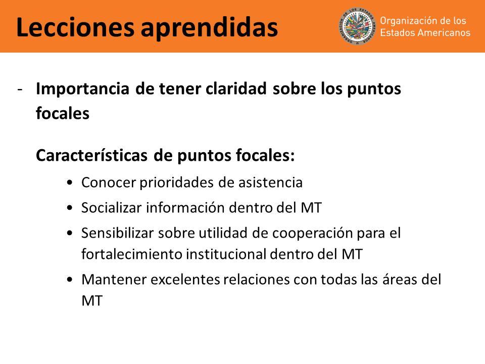 Lecciones aprendidas -Importancia de tener claridad sobre los puntos focales Características de puntos focales: Conocer prioridades de asistencia Soci