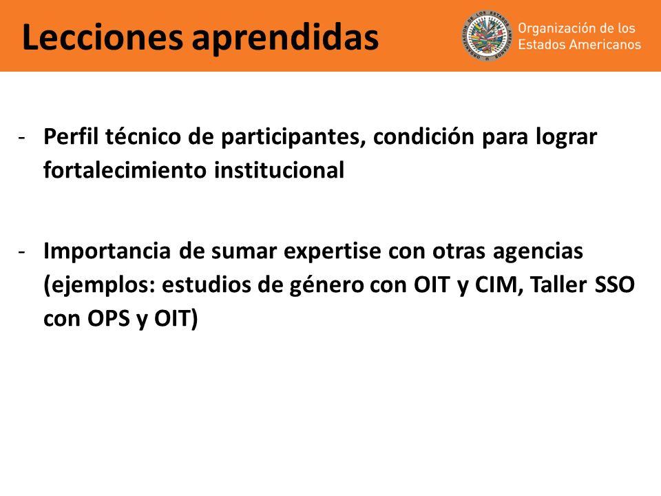 Lecciones aprendidas -Perfil técnico de participantes, condición para lograr fortalecimiento institucional -Importancia de sumar expertise con otras a