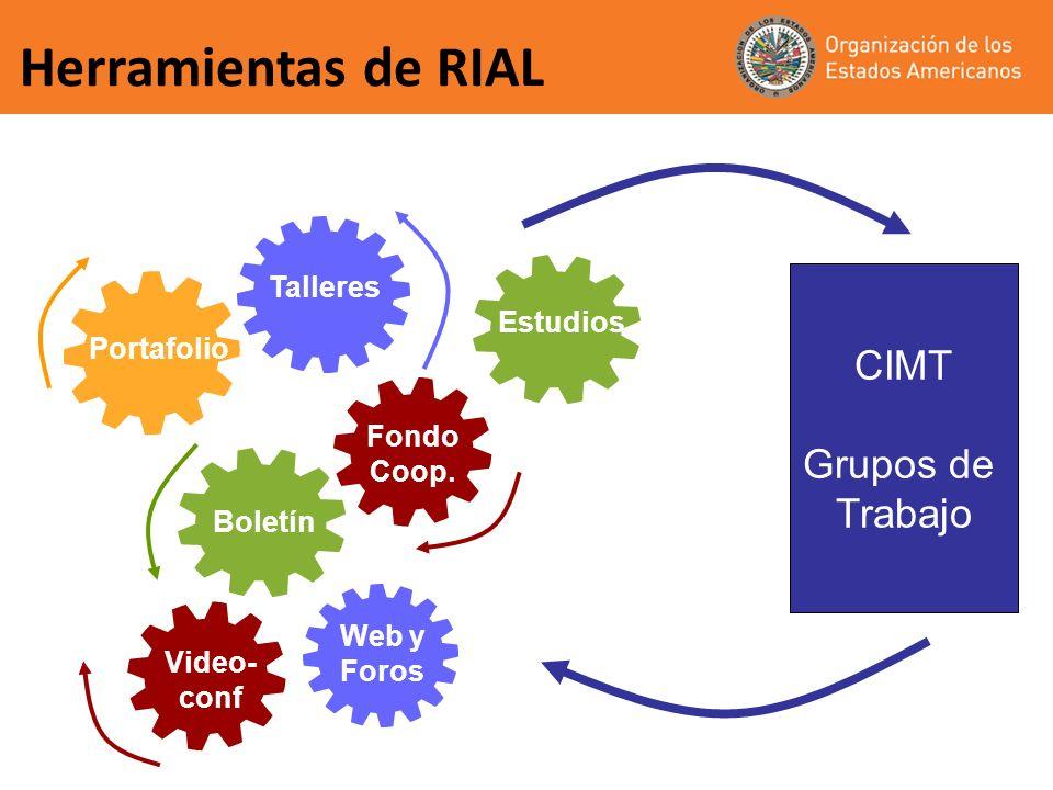 Herramientas de RIAL Portafolio Talleres Estudios Fondo Coop. Web y Foros Boletín Video- conf CIMT Grupos de Trabajo
