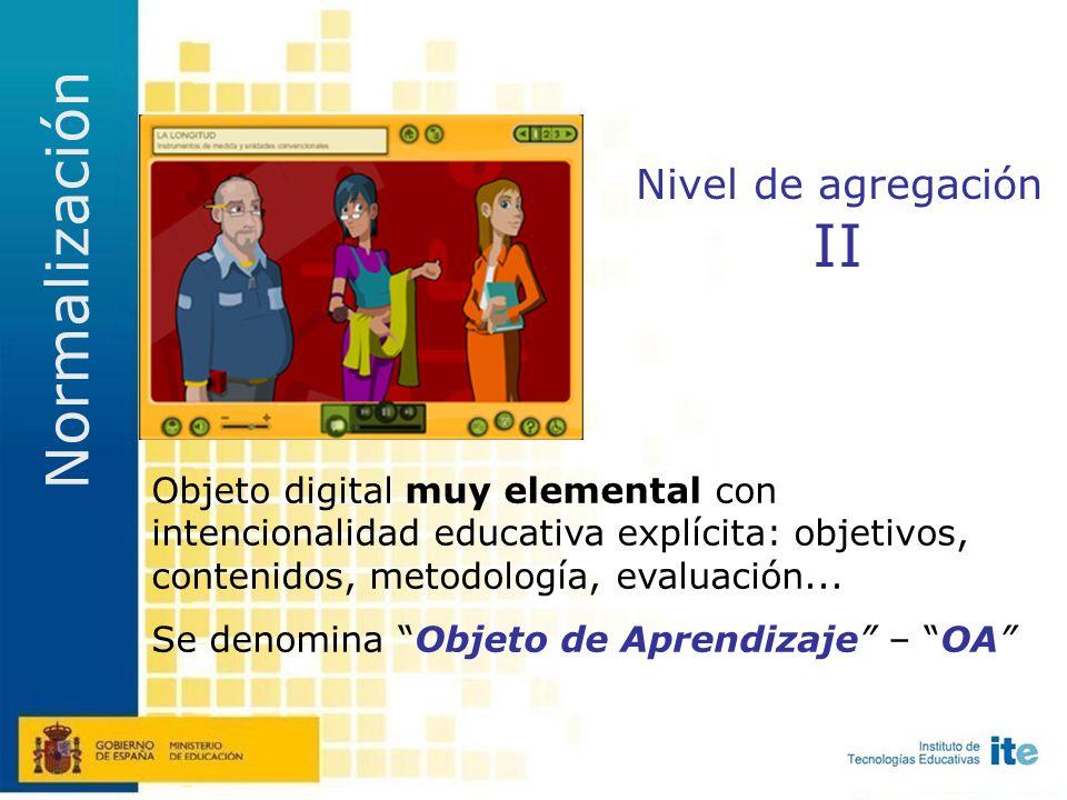 Nivel de agregación I Cualquier objeto digital simple susceptible de ser usado con finalidad educativa no explícita.