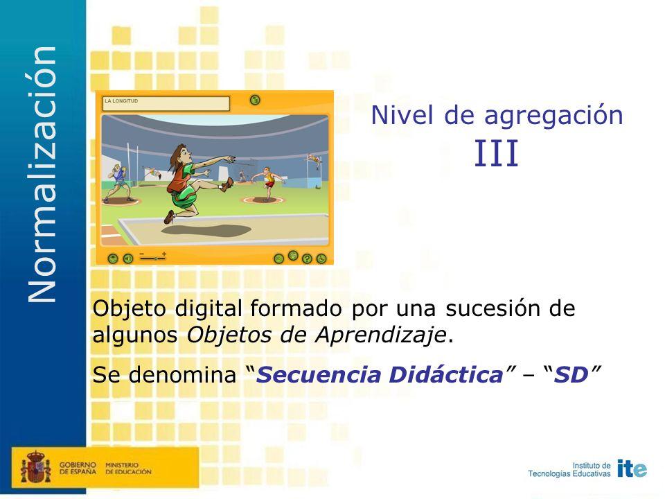 Nivel de agregación II Objeto digital muy elemental con intencionalidad educativa explícita: objetivos, contenidos, metodología, evaluación...
