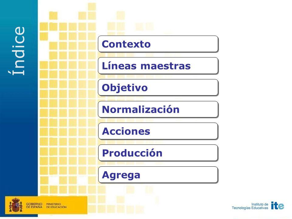 Normalización Acciones Objetivo Líneas maestras Índice Producción Agrega Contexto