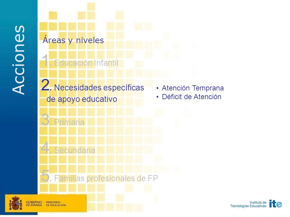 1. Educación Infantil 4. Secundaria 3. Primaria 5.