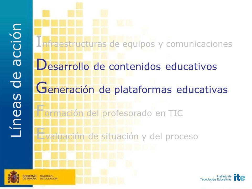 I nfraestructuras de equipos y comunicaciones D esarrollo de contenidos educativos G eneración de plataformas educativas F ormación del profesorado en TIC E valuación de situación y del proceso Líneas maestras