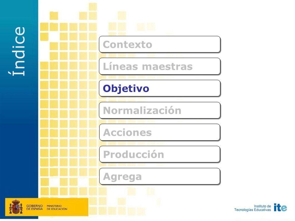 Normalización Acciones Objetivo Líneas maestras Producción Agrega Contexto Índice