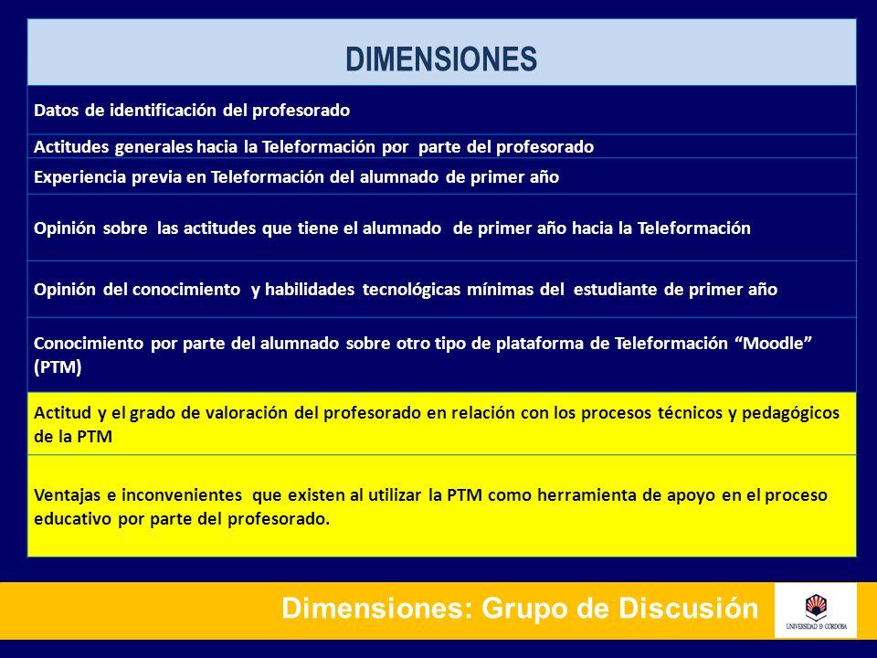 Dimensiones: Grupo de Discusión DIMENSIONES Datos de identificación del profesorado Actitudes generales hacia la Teleformación por parte del profesora