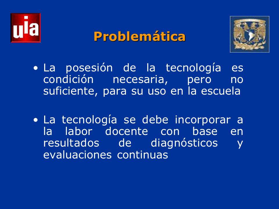 Problemática La posesión de la tecnología es condición necesaria, pero no suficiente, para su uso en la escuela La tecnología se debe incorporar a la labor docente con base en resultados de diagnósticos y evaluaciones continuas