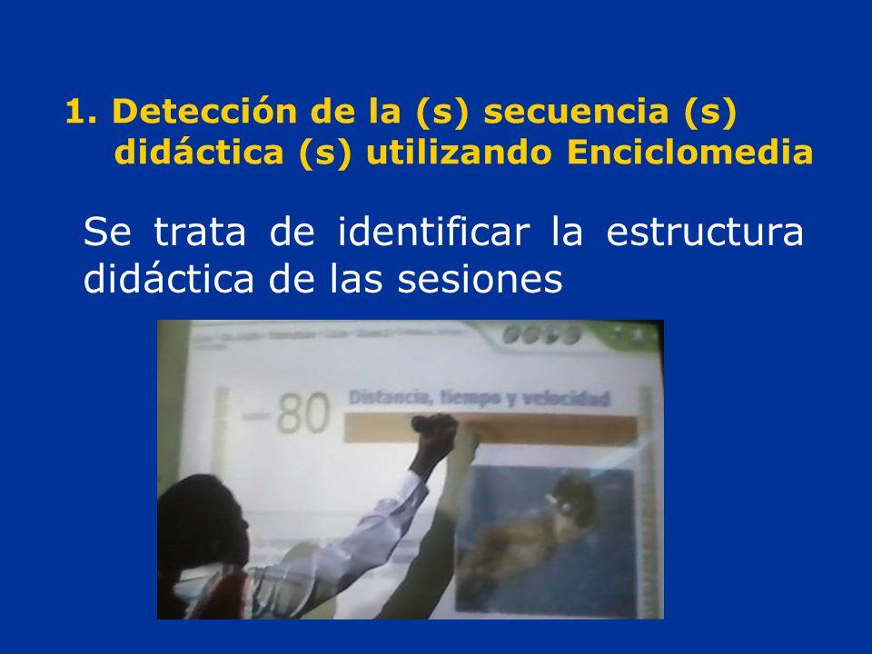 1. Detección de la (s) secuencia (s) didáctica (s) utilizando Enciclomedia Se trata de identificar la estructura didáctica de las sesiones