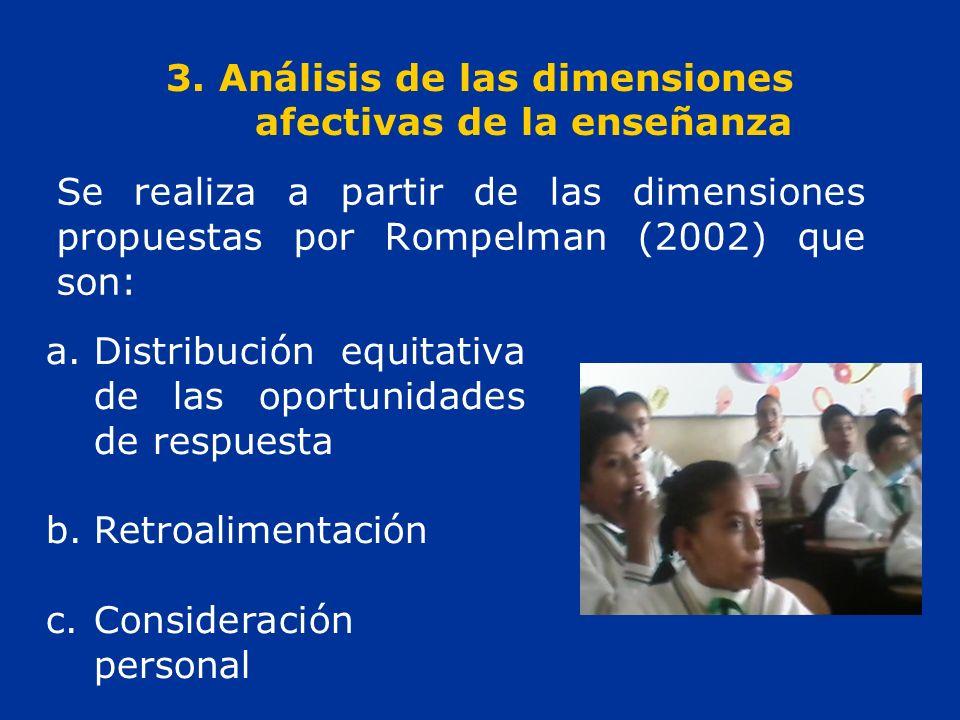 3. Análisis de las dimensiones afectivas de la enseñanza Se realiza a partir de las dimensiones propuestas por Rompelman (2002) que son: a.Distribució