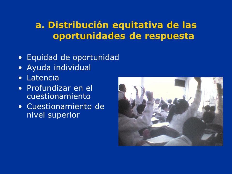 a. Distribución equitativa de las oportunidades de respuesta Equidad de oportunidad Ayuda individual Latencia Profundizar en el cuestionamiento Cuesti