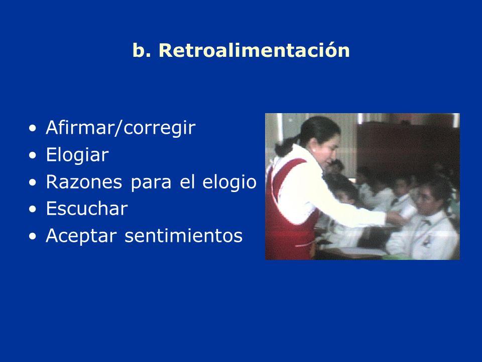 b. Retroalimentación Afirmar/corregir Elogiar Razones para el elogio Escuchar Aceptar sentimientos