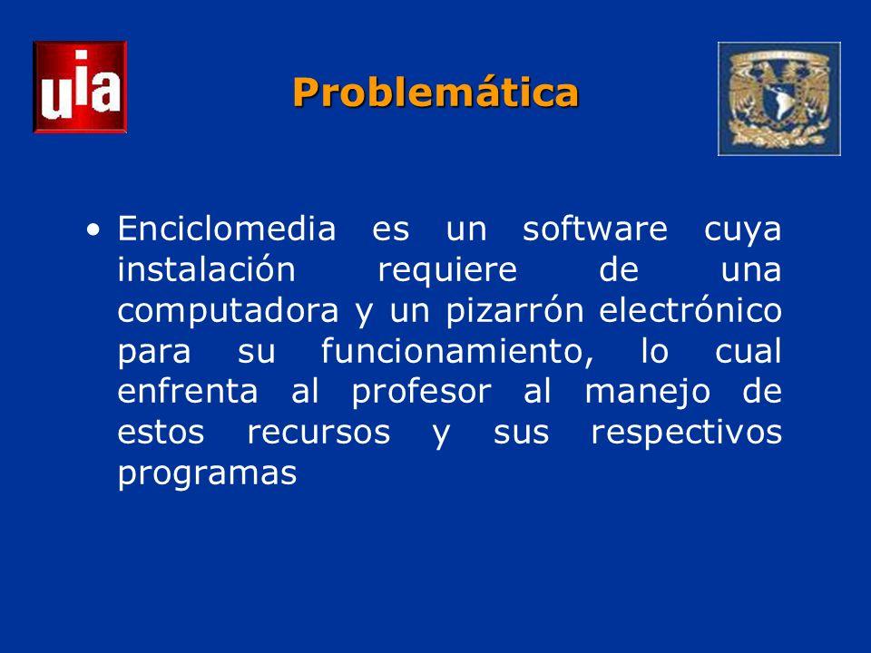 Problemática Enciclomedia es un software cuya instalación requiere de una computadora y un pizarrón electrónico para su funcionamiento, lo cual enfrenta al profesor al manejo de estos recursos y sus respectivos programas