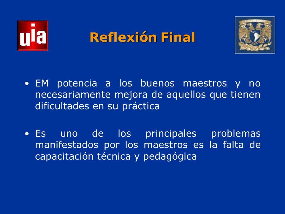 Reflexión Final EM potencia a los buenos maestros y no necesariamente mejora de aquellos que tienen dificultades en su práctica Es uno de los principales problemas manifestados por los maestros es la falta de capacitación técnica y pedagógica