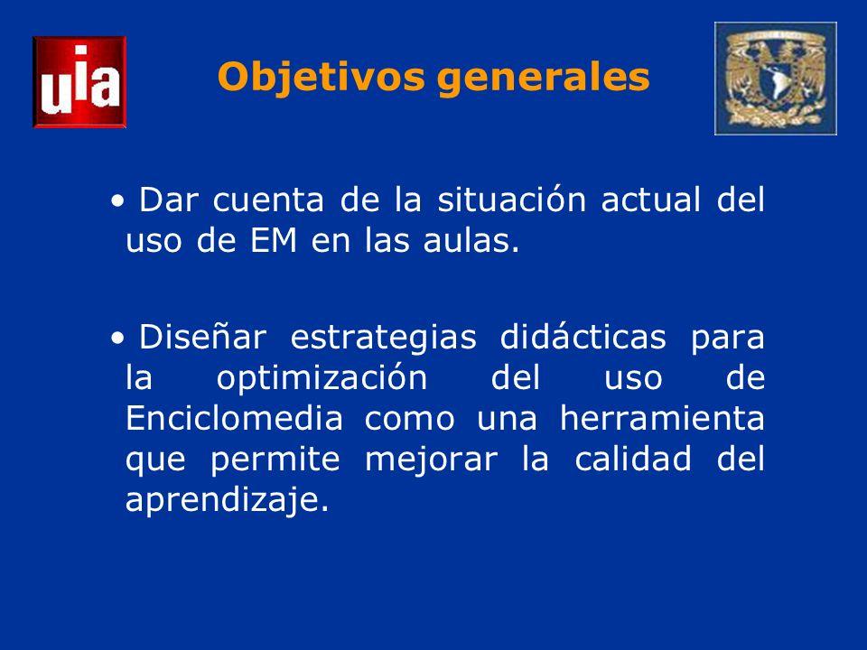 Objetivos generales Dar cuenta de la situación actual del uso de EM en las aulas.