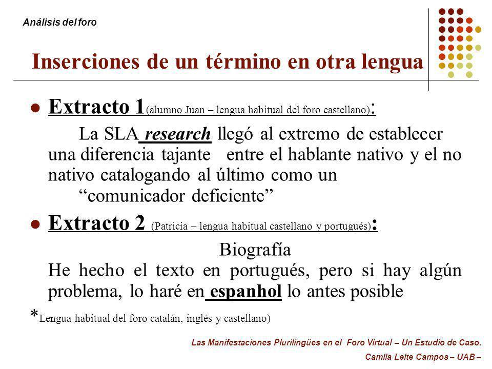 Inserciones de un término en otra lengua Extracto 1 (alumno Juan – lengua habitual del foro castellano) : La SLA research llegó al extremo de establec