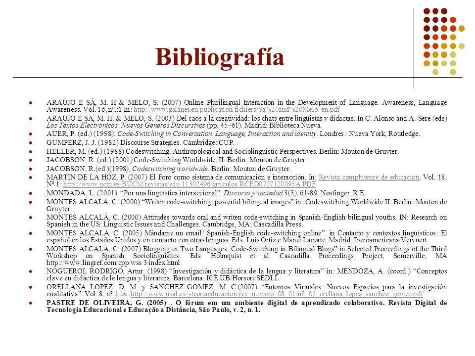 Bibliografía ARAÚJO E SÁ, M. H & MELO, S. (2007) Online Plurilingual Interaction in the Development of Language. Awareness, Language Awareness. Vol. 1