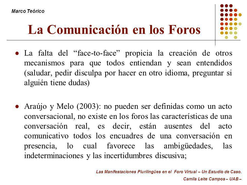 La Comunicación en los Foros La falta del face-to-face propicia la creación de otros mecanismos para que todos entiendan y sean entendidos (saludar, p
