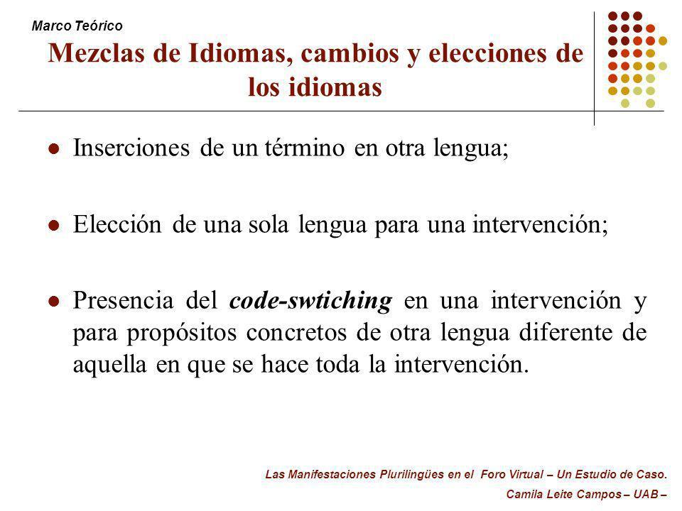 Mezclas de Idiomas, cambios y elecciones de los idiomas Inserciones de un término en otra lengua; Elección de una sola lengua para una intervención; P