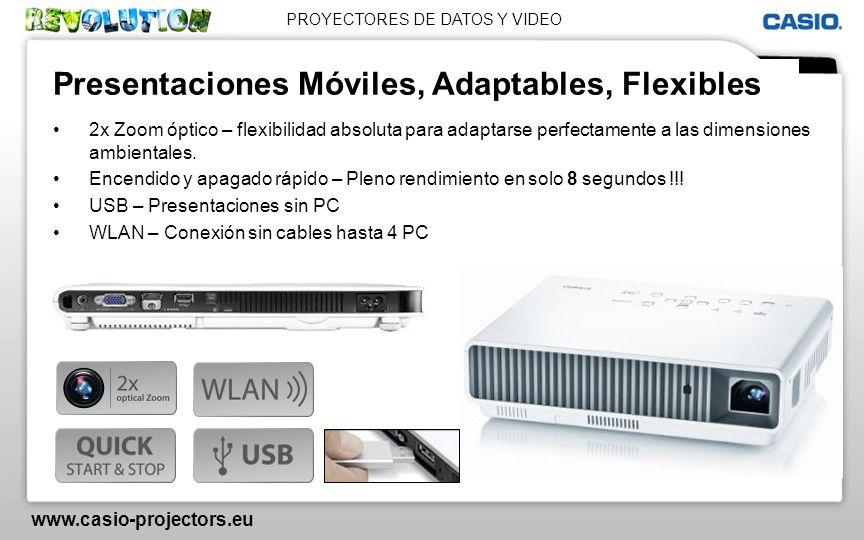 PROYECTORES DE DATOS Y VIDEO www.casio-projectors.eu Presentaciones Móviles, Adaptables, Flexibles 2x Zoom óptico – flexibilidad absoluta para adaptar