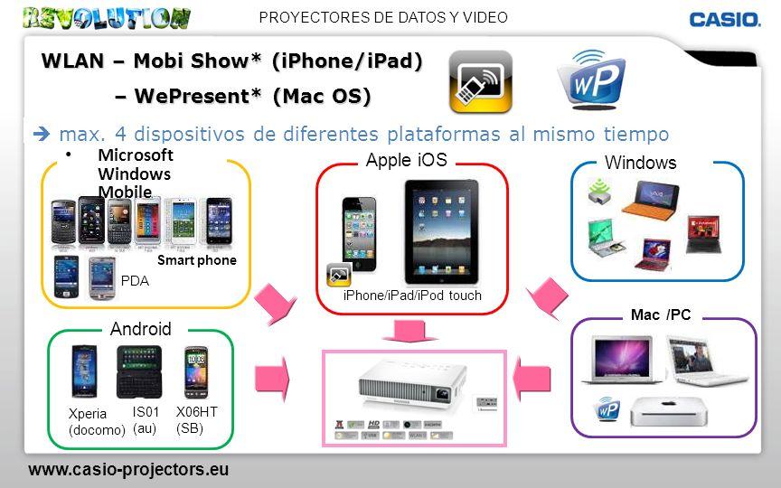 PROYECTORES DE DATOS Y VIDEO www.casio-projectors.eu max. 4 dispositivos de diferentes plataformas al mismo tiempo Smart phone PDA Microsoft Windows M