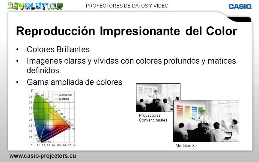 PROYECTORES DE DATOS Y VIDEO www.casio-projectors.eu Reproducción Impresionante del Color Colores Brillantes Imagenes claras y vívidas con colores pro