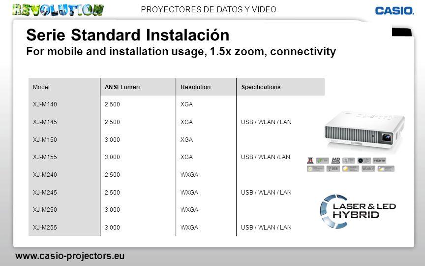 PROYECTORES DE DATOS Y VIDEO www.casio-projectors.eu Serie Standard Instalación For mobile and installation usage, 1.5x zoom, connectivity ModelANSI L