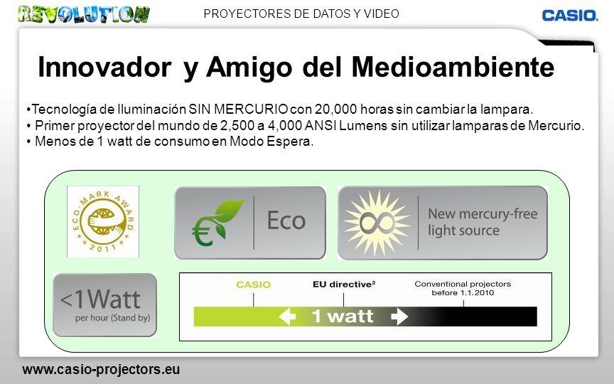 PROYECTORES DE DATOS Y VIDEO www.casio-projectors.eu Innovador y Amigo del Medioambiente Tecnología de Iluminación SIN MERCURIO con 20,000 horas sin c