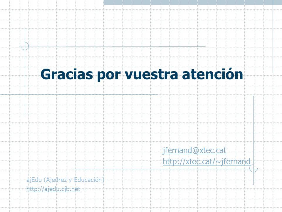 jfernand@xtec.cat http://xtec.cat/~jfernand Gracias por vuestra atención ajEdu (Ajedrez y Educación) http://ajedu.cjb.net