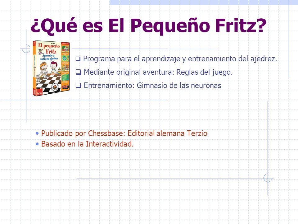 ¿Qué es El Pequeño Fritz? Publicado por Chessbase: Editorial alemana Terzio Basado en la Interactividad. Programa para el aprendizaje y entrenamiento