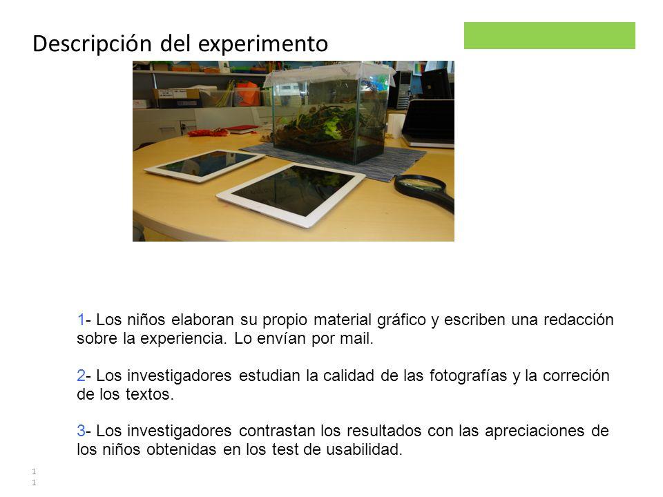 Parsley project Descripción del experimento 11 1- Los niños elaboran su propio material gráfico y escriben una redacción sobre la experiencia. Lo enví