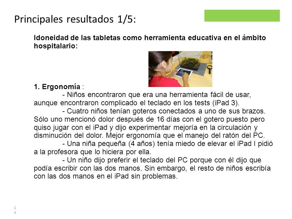 Parsley project Principales resultados 1/5: 14 Idoneidad de las tabletas como herramienta educativa en el ámbito hospitalario: 1. Ergonomía : - Niños