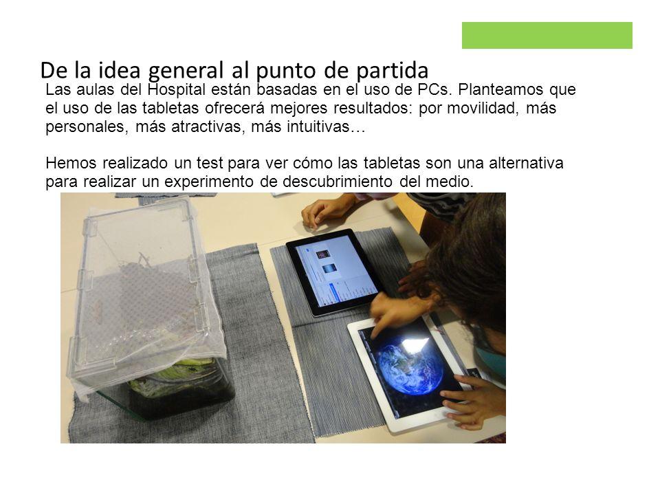 Parsley project De la idea general al punto de partida Las aulas del Hospital están basadas en el uso de PCs. Planteamos que el uso de las tabletas of