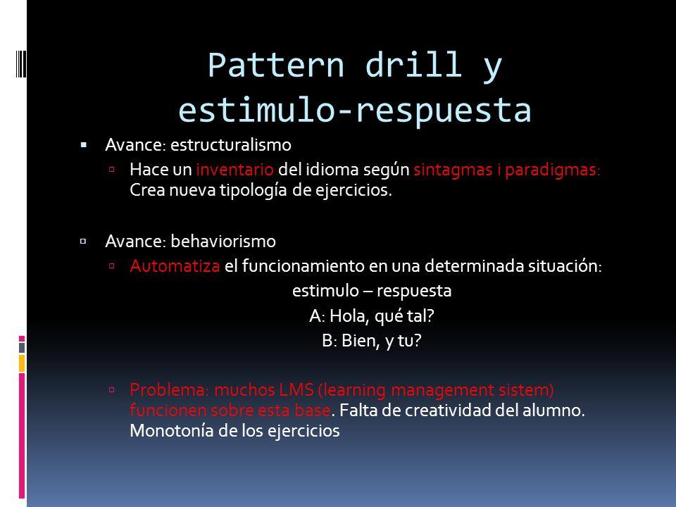 Pattern drill y estimulo-respuesta Avance: estructuralismo Hace un inventario del idioma según sintagmas i paradigmas: Crea nueva tipología de ejercicios.