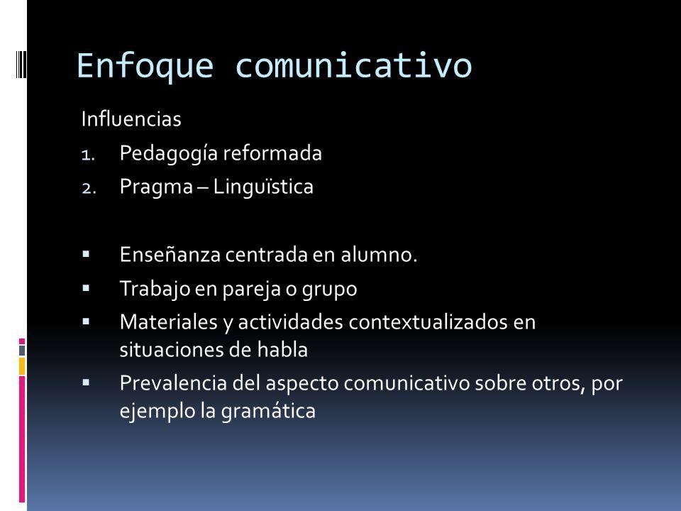 Enfoque comunicativo Influencias 1.Pedagogía reformada 2.