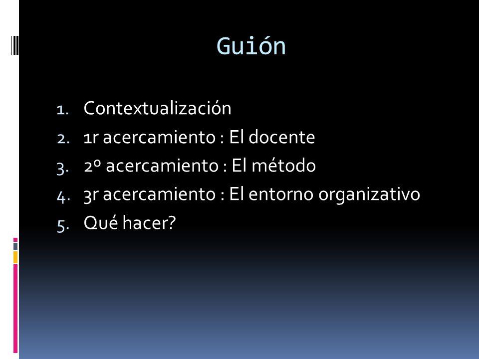Guión 1.Contextualización 2. 1r acercamiento : El docente 3.