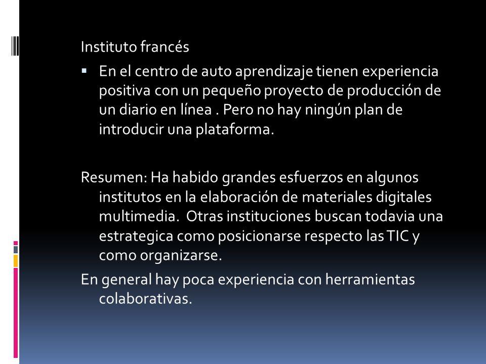 Instituto francés En el centro de auto aprendizaje tienen experiencia positiva con un pequeño proyecto de producción de un diario en línea.