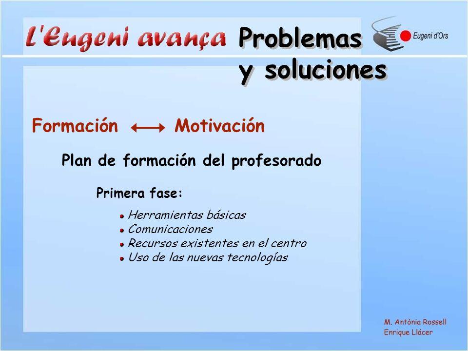 Formación Motivación Plan de formación del profesorado Primera fase: Herramientas básicas Comunicaciones Recursos existentes en el centro Uso de las nuevas tecnologías Problemas y soluciones Problemas y soluciones