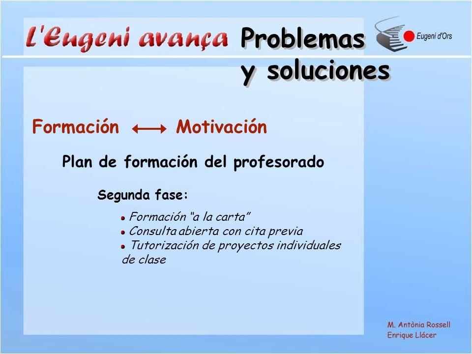 Formación Motivación Plan de formación del profesorado Segunda fase: Formación a la carta Consulta abierta con cita previa Tutorización de proyectos individuales de clase Problemas y soluciones Problemas y soluciones
