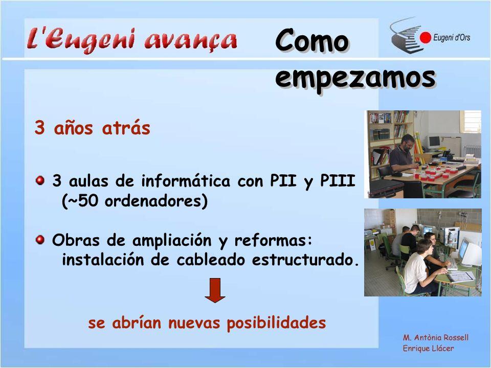 3 aulas de informática con PII y PIII (~50 ordenadores) Obras de ampliación y reformas: instalación de cableado estructurado.