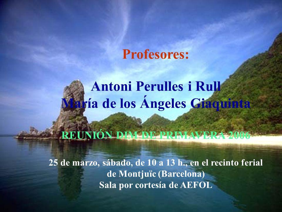 Profesores: Antoni Perulles i Rull María de los Ángeles Giaquinta REUNIÓN DIM DE PRIMAVERA 2006 25 de marzo, sábado, de 10 a 13 h., en el recinto ferial de Montjuïc (Barcelona) Sala por cortesía de AEFOL