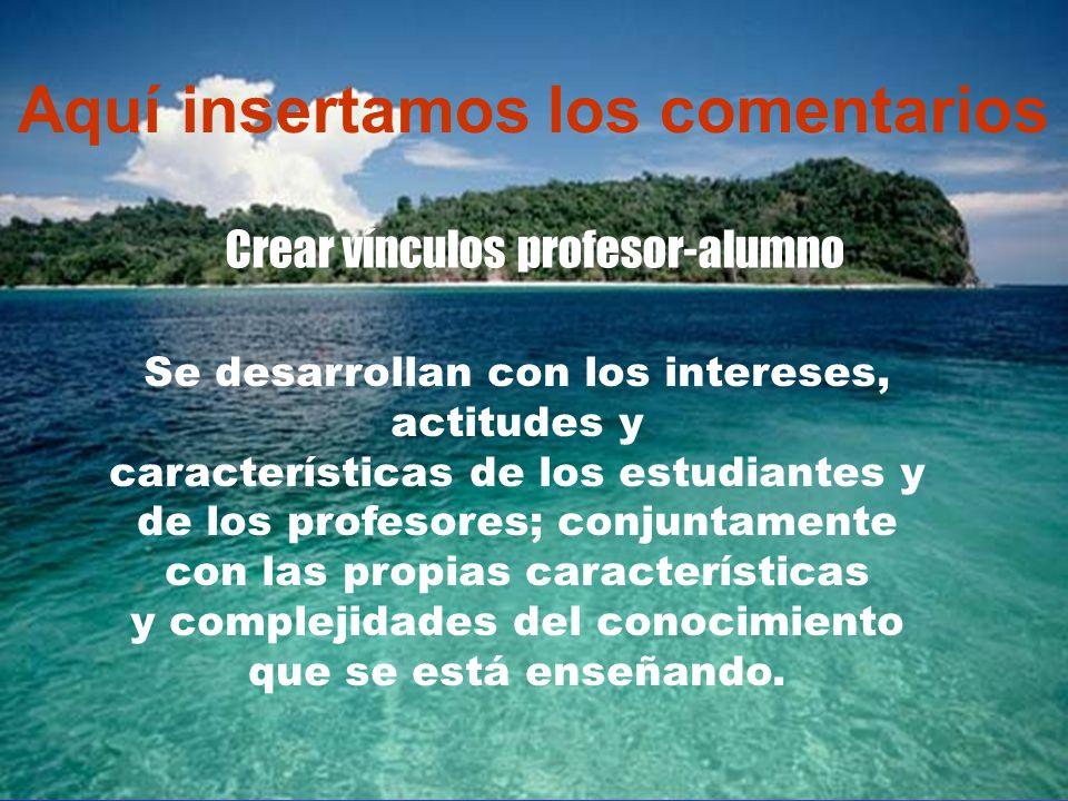 …... Aquí insertamos los comentarios Crear vínculos profesor-alumno Se desarrollan con los intereses, actitudes y características de los estudiantes y