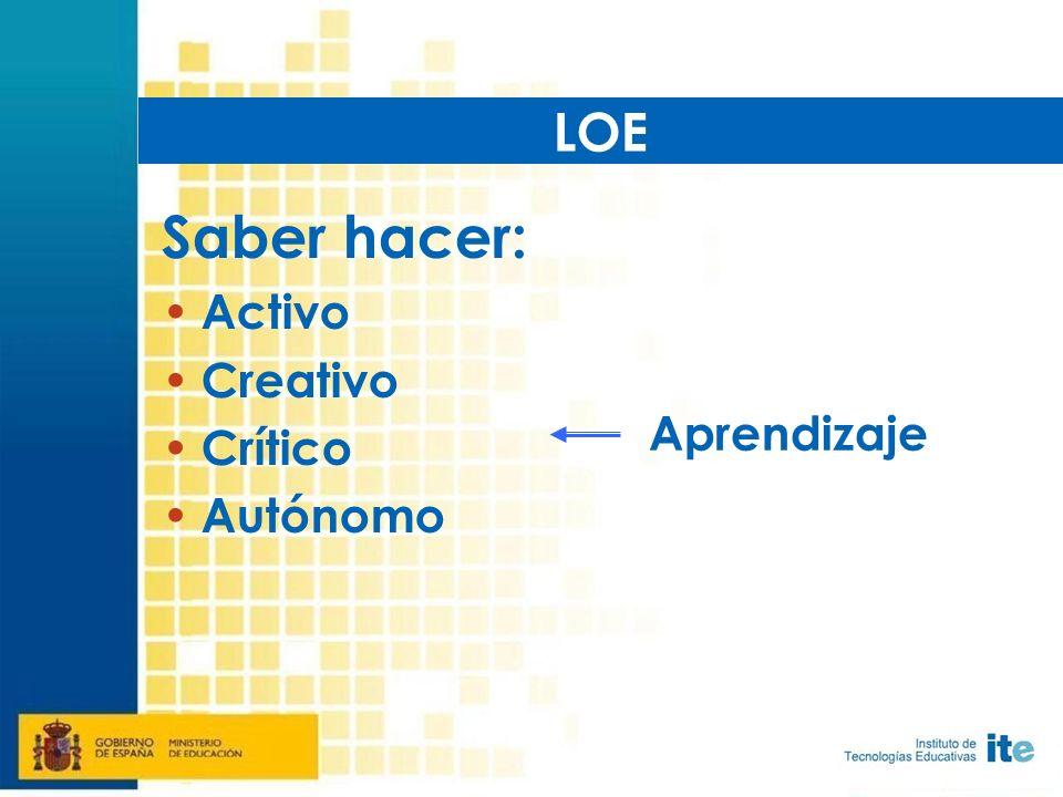 Saber hacer: Activo Creativo Crítico Autónomo LOE Aprendizaje