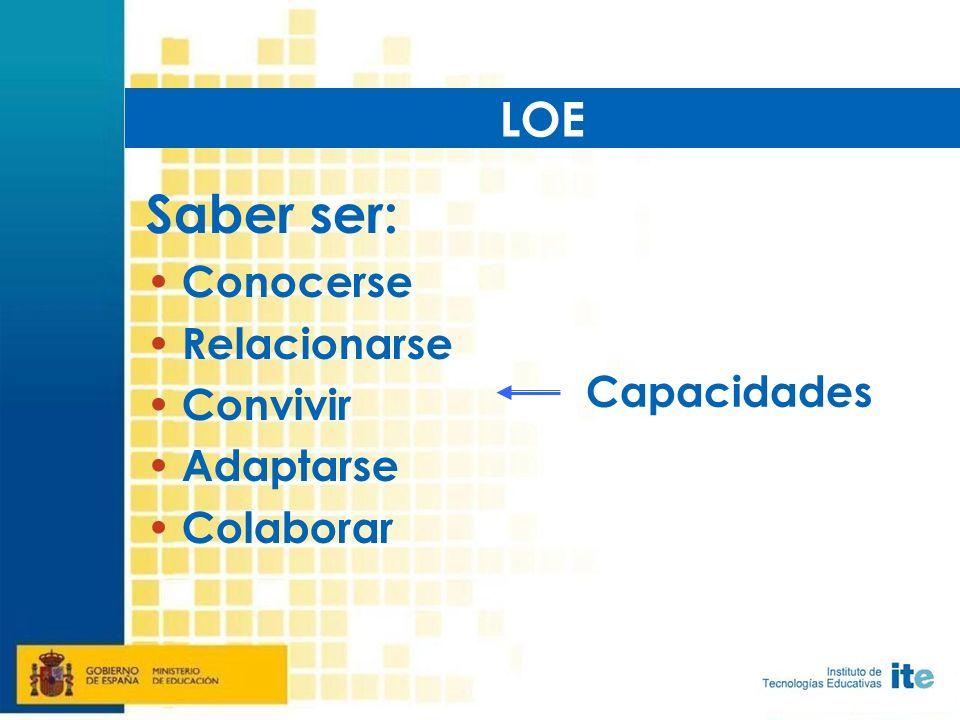 Saber ser: Conocerse Relacionarse Convivir Adaptarse Colaborar LOE Capacidades
